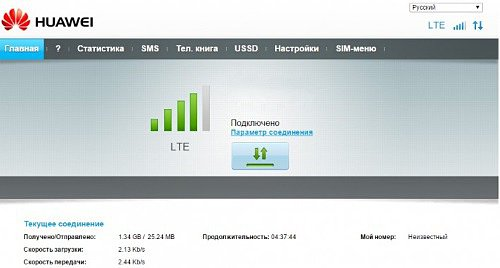 Web интерфейс HiLink модема