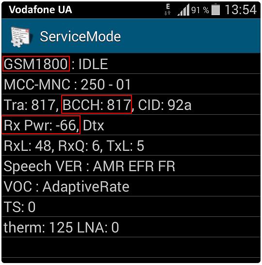 Samsung Сервисное меню для измерения сигнала GSM